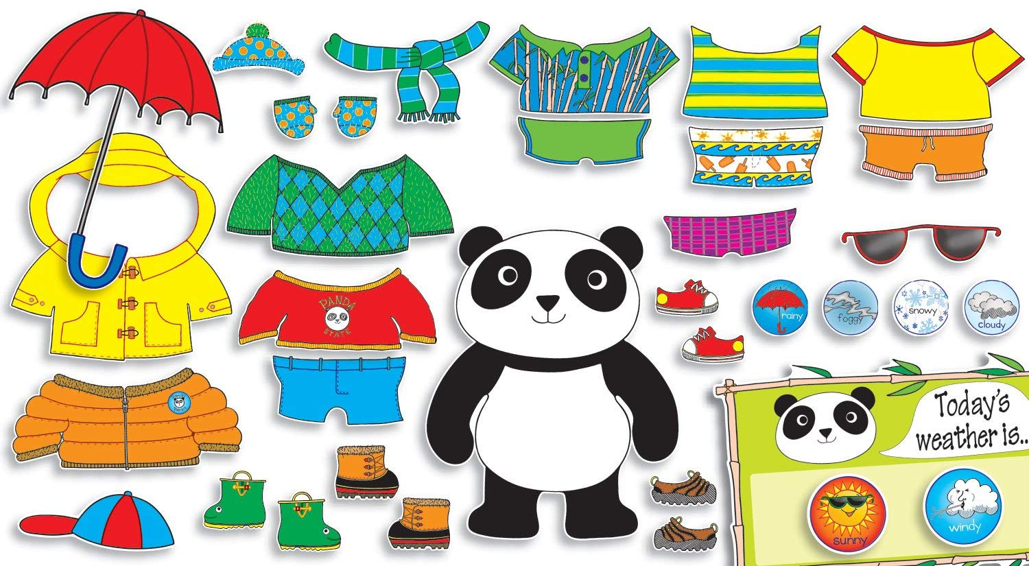 Bear clipart weather. Panda bulletin board set