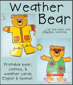 Dress up printable hello. Bear clipart weather