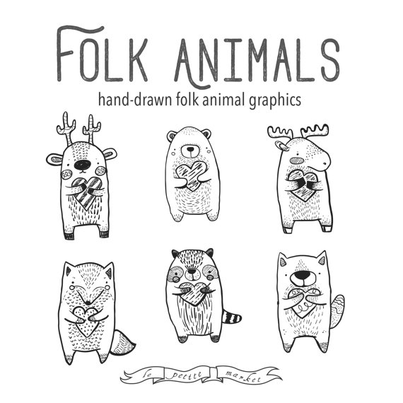 Folk animals heart vector. Bear clipart wolf
