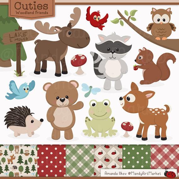 Cute animals clip art. Bear clipart woodland