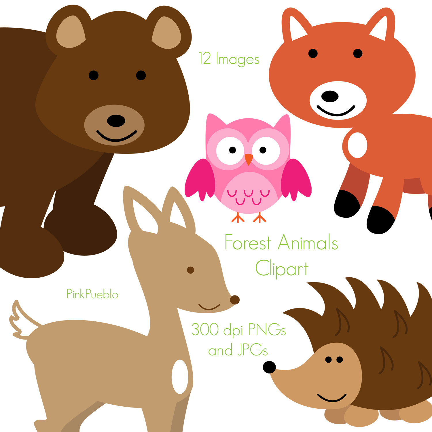 Bear clipart woodland. Forest animals free clip