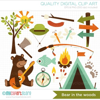 Bear clipart woods. Animals in the camping