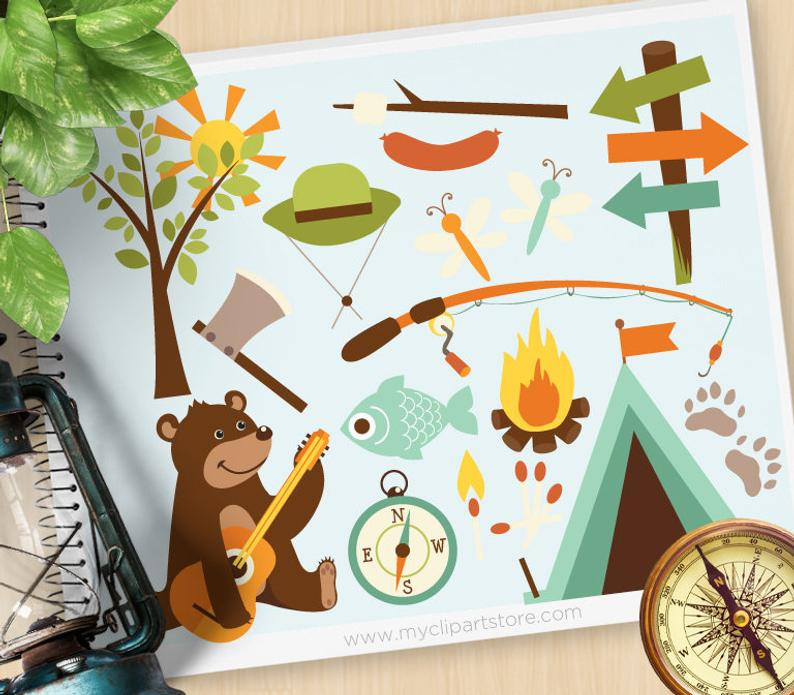 Bear clipart woods. Camping in the fishing