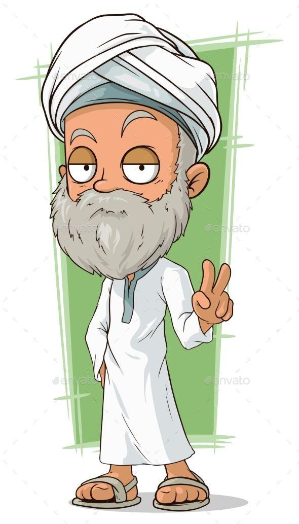 Cartoon old arabian man. Beard clipart arabic