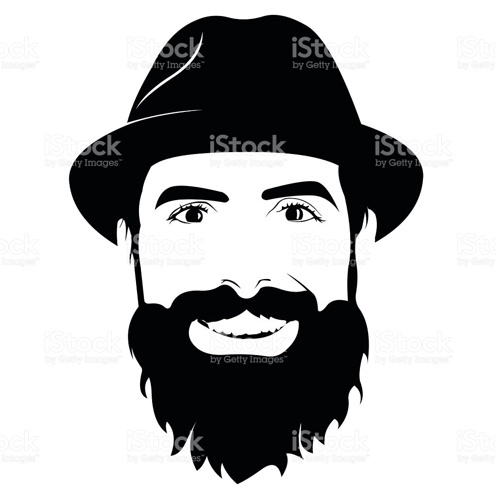 Beard clipart beared. Young bearded man with