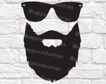 Beard clipart beared. Etsy svg sunglasses bearded