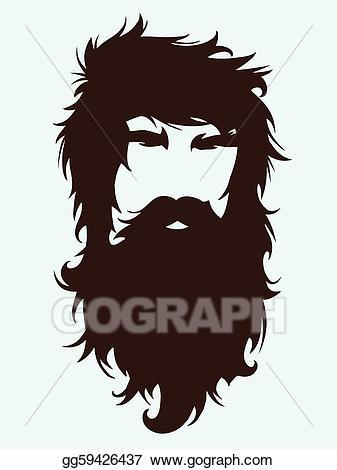 Vector art bearded man. Beard clipart beared