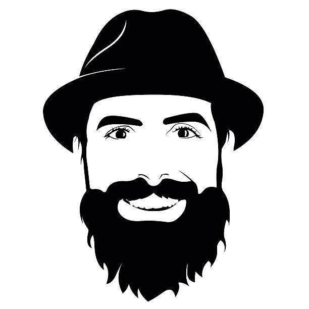Beard clipart black and white. Man face station
