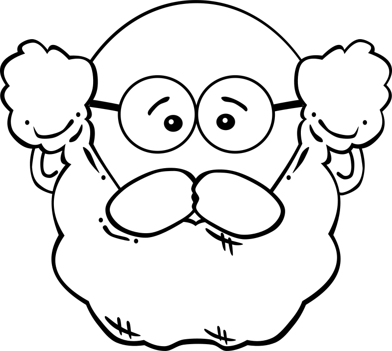 Man face cartoon by. Grandmother clipart black and white