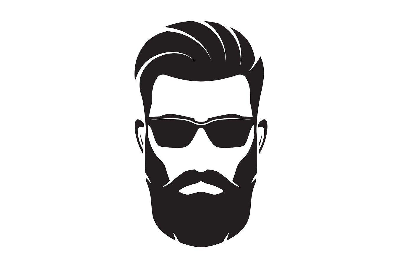 Bearded men face hipster. Beard clipart black and white
