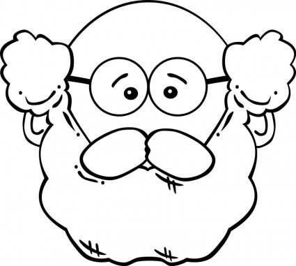 Grandfather face with glasses. Beard clipart black and white