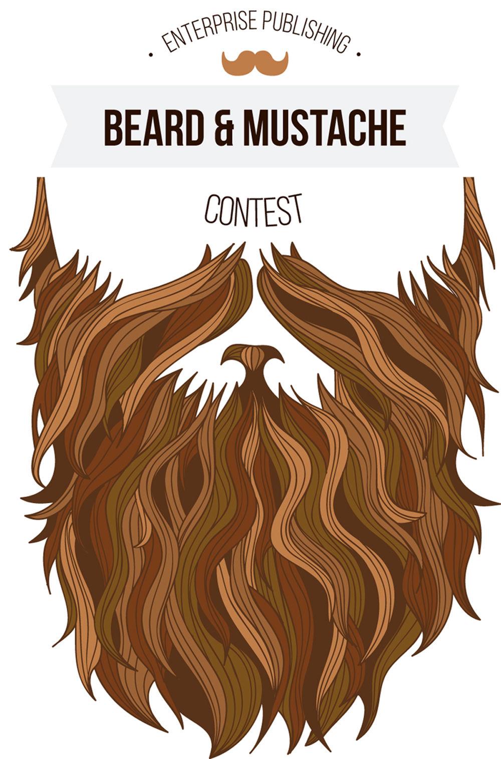 Enterprise hosts and mustache. Beard clipart brown beard