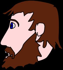 Man head side mustache. Beard clipart brown beard