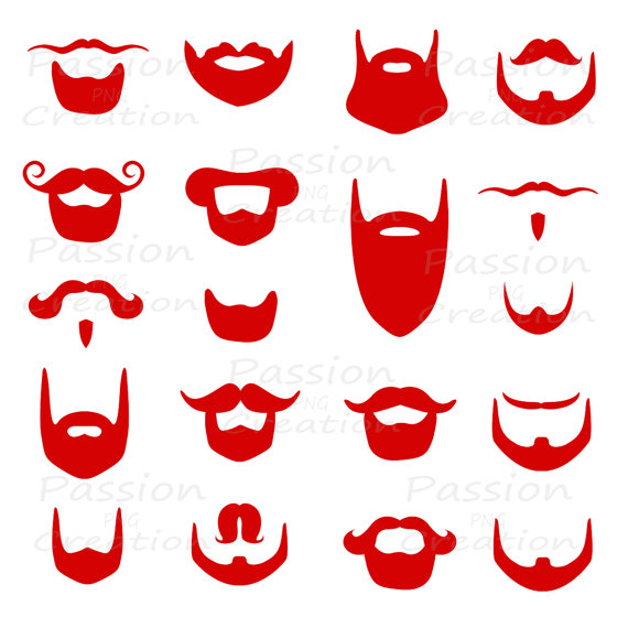 Beard clipart cartoon. Digital red clip art