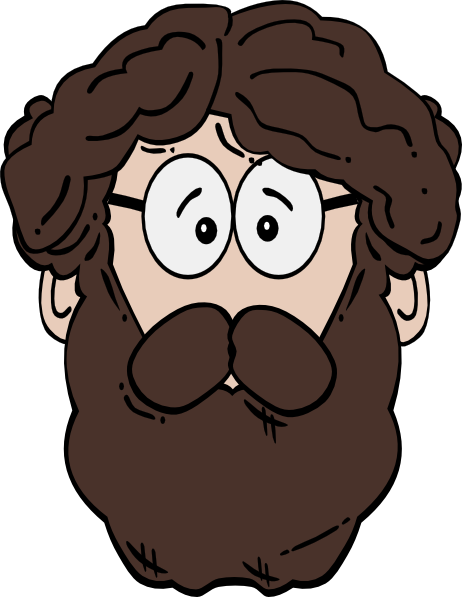 Man with clip art. Beard clipart cartoon