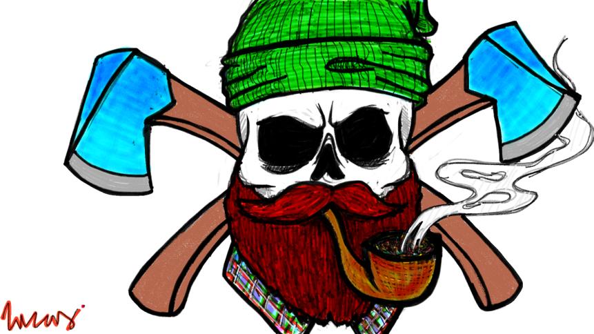 Beard clipart doodle. Skull macho ly