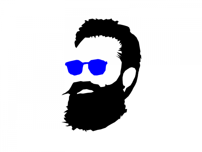 hipster glasses silhouette. Beard clipart doodle