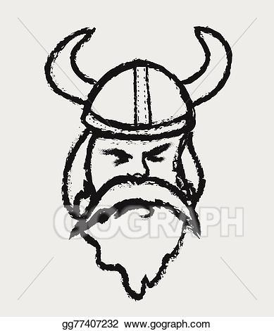 Vector stock viking warrior. Beard clipart doodle