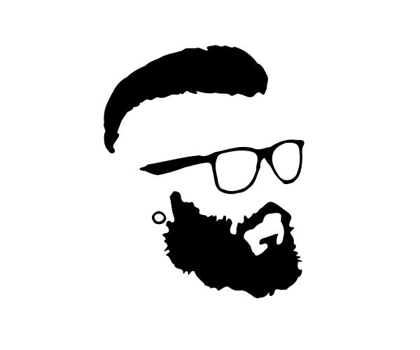 Hipster and glasses silhouette. Beard clipart eyeglasses