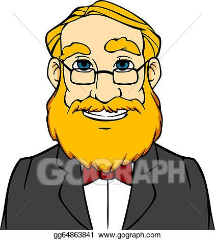 Beard clipart facial hair. Vector art smiling man