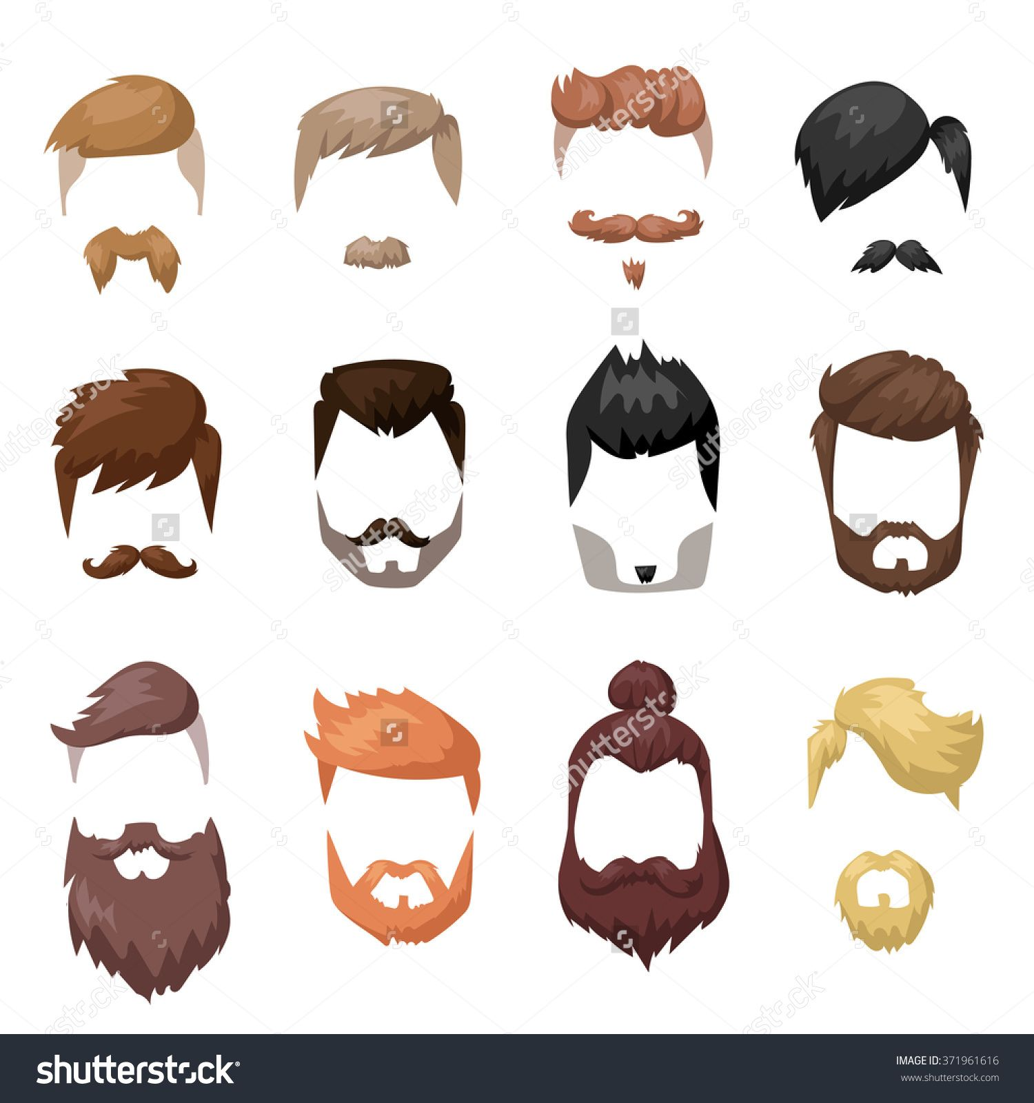 Hairstyles and face cut. Beard clipart facial hair