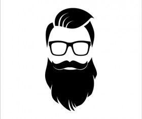 Long head portrait vector. Beard clipart hipster beard