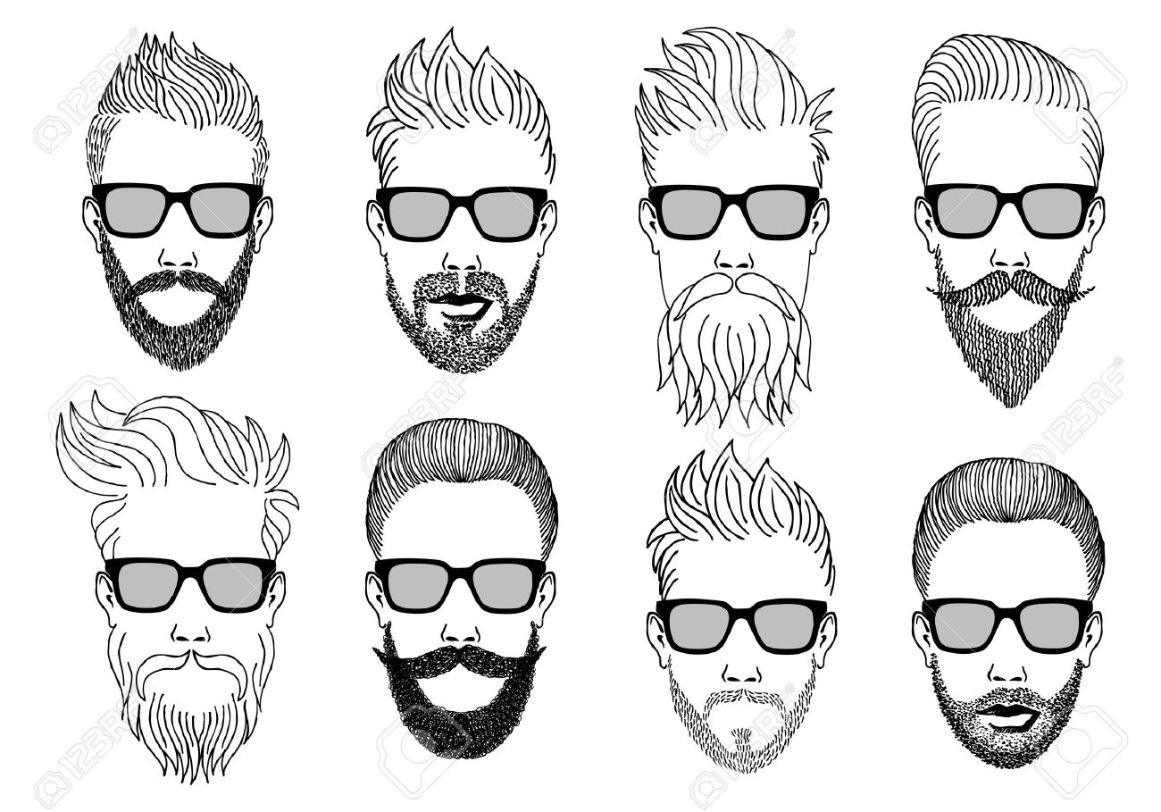 Beard clipart illustration. Hand drawn