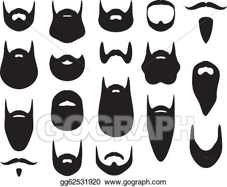 Beard clipart illustration. Vector stock set of