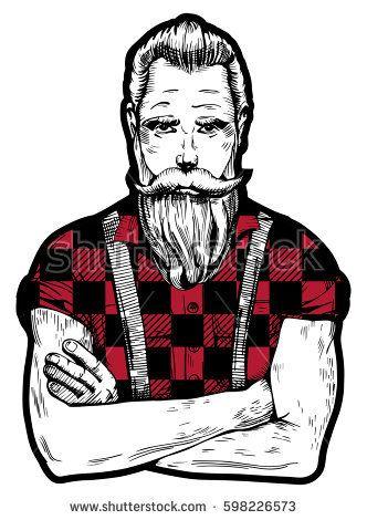Vector illustration of ink. Beard clipart lumberjack beard