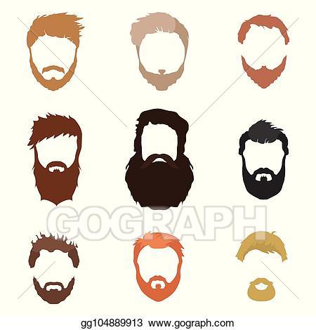 Vector art fashionable men. Beard clipart mask