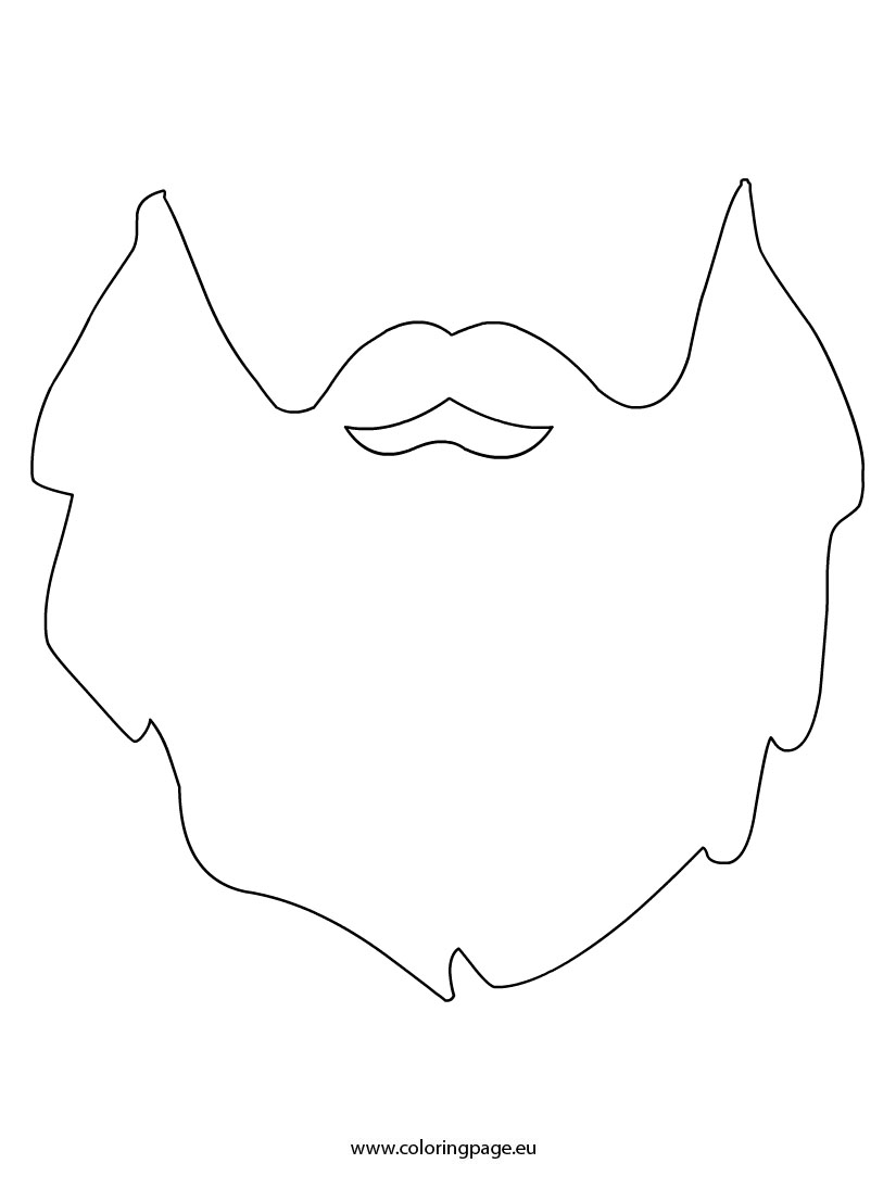 Beard clipart mask. Template coloring page