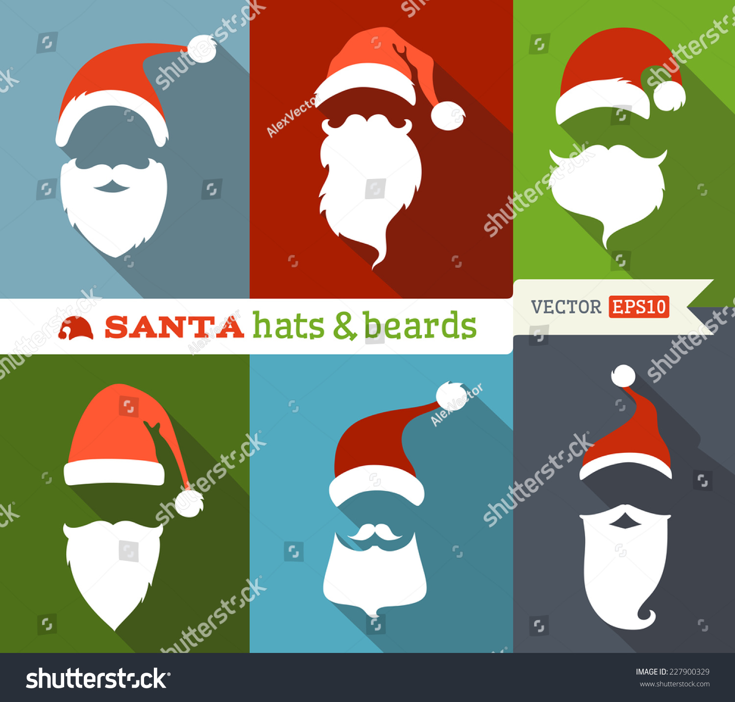Santa hat free collection. Beard clipart mask