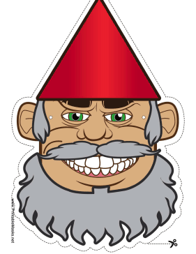 Printable gnome with. Beard clipart mask