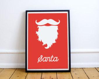 Santa etsy poster hipster. Beard clipart minimalist