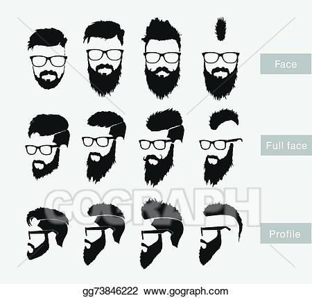 Beard clipart profile. Vector art hairstyles with