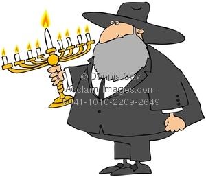 Image holding a menorah. Beard clipart rabbi