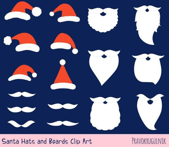 Hat and set clip. Beard clipart santa claus