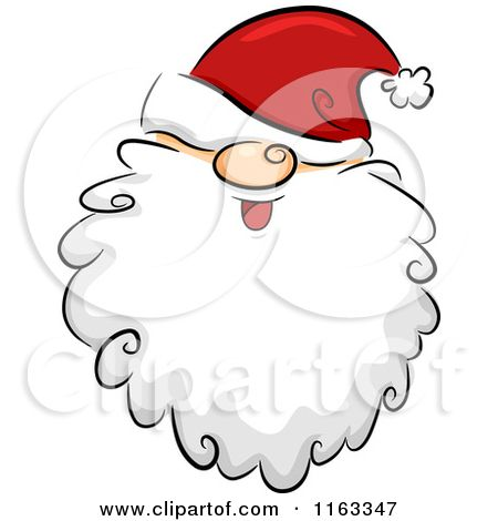 Cartoon of a happy. Beard clipart santas