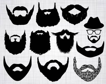 Beard clipart short beard. Svg etsy studio bundle