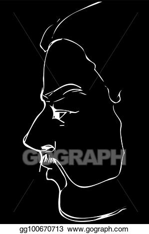 Vector stock angry uncle. Beard clipart sketch