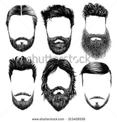 Heart vinyl sticker beards. Beard clipart sketch