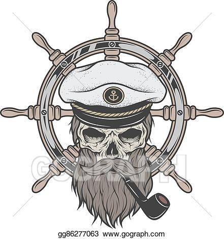 Beard clipart sketch. Vector art captain skull