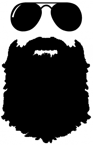 Rugged with sunglasses car. Beard clipart sunglass