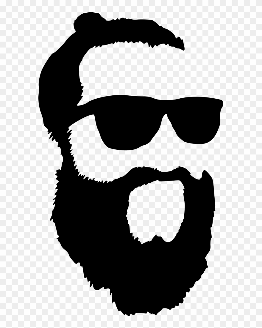 Hipster with sunglasses silhouette. Beard clipart sunglass