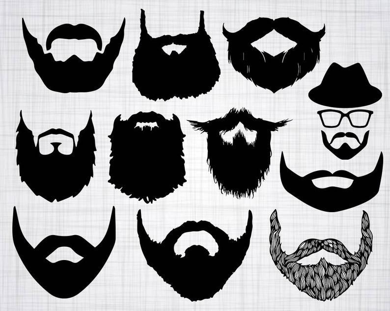 Beard clipart svg. Bundle cut files for