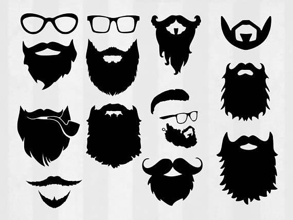 Beard clipart svg. Bundle cut files hipster