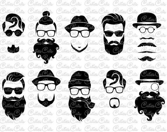 Hipster beards svg dxf. Beard clipart vector
