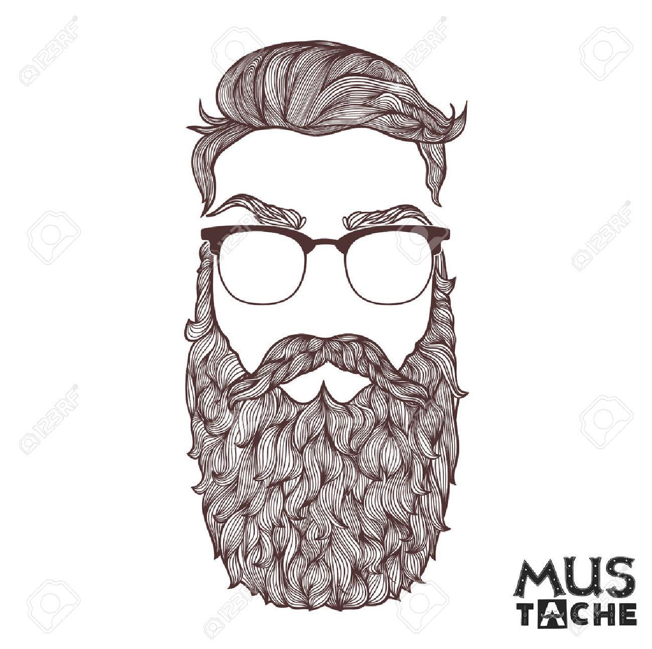 Hand drawn pencil and. Beard clipart vector