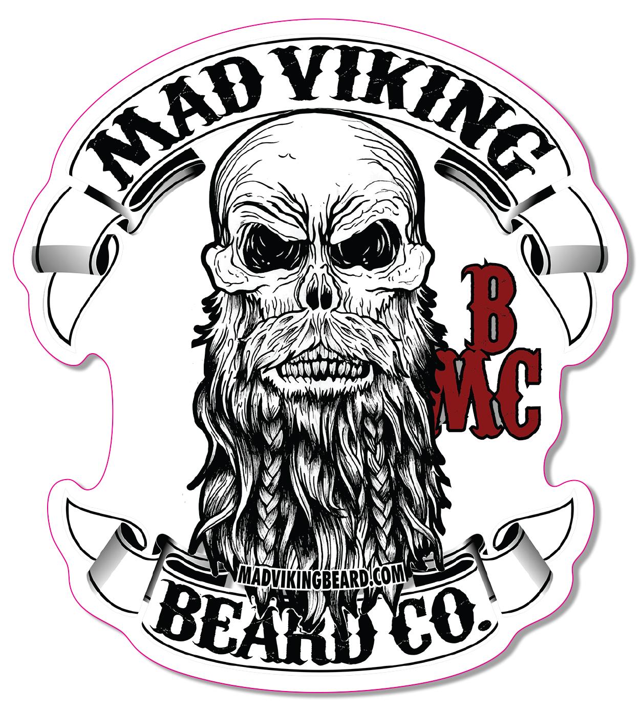 Mad logo sticker x. Beard clipart viking beard