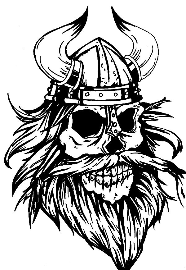 Warrior skull with a. Beard clipart viking beard